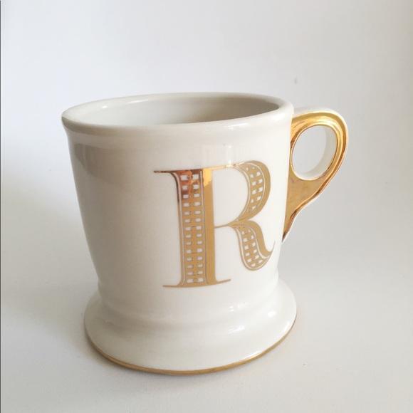 anthropologie other gold monogram mug letter r poshmark